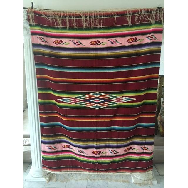 Vintage Mexican Serape Blanket - Image 2 of 6