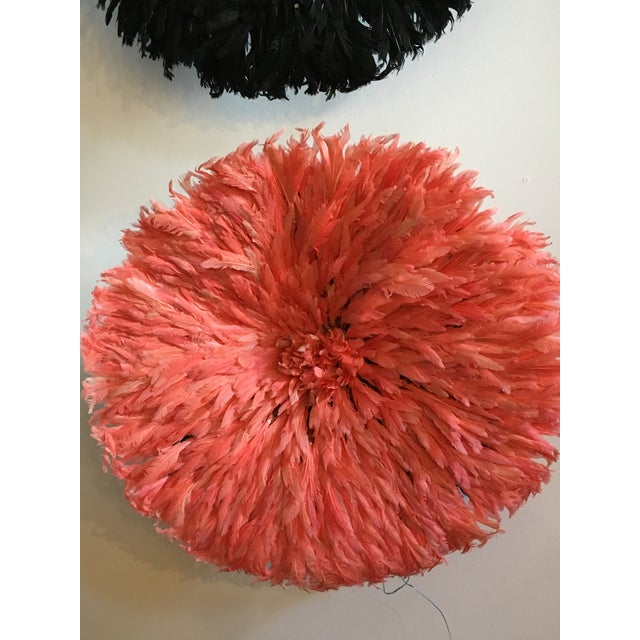 African Authentic Cameroon Pink Salmon Flamingo Juju Hat For Sale - Image 3 of 4