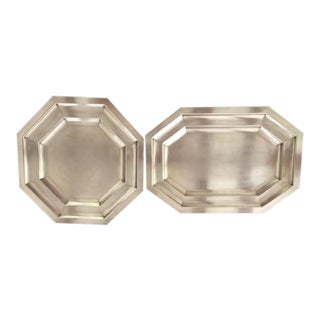 Antique 1930's Art Deco Silver Trays - Set of 2 For Sale