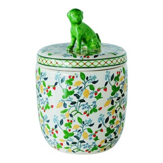 Floral and Fruit Pattern Porcelain Lidded Jar For Sale