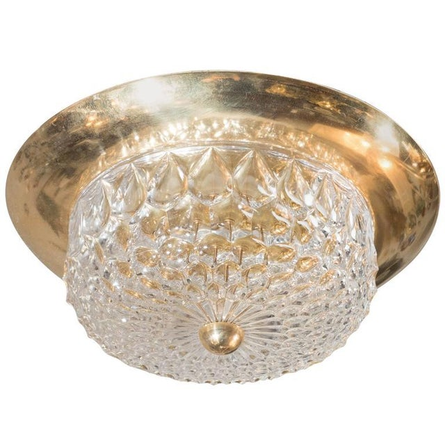 Mid-Century Modernist Crystal Dome and Brass Flush Mount Chandelier For Sale - Image 9 of 9