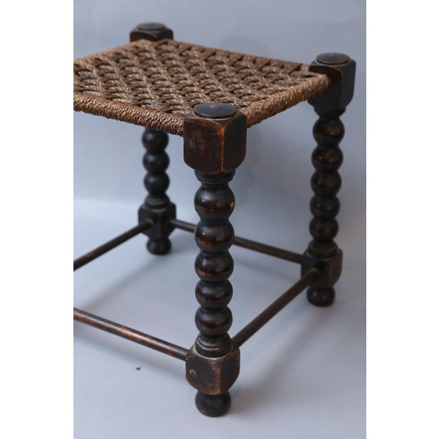 Early English Bobbin Oak Footstool - Image 3 of 8