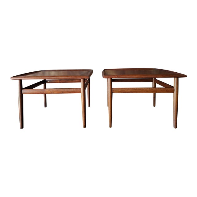 Pair of Danish Teak Mid Century Side/Coffee Tables by Grete Jalk for Glostrup For Sale