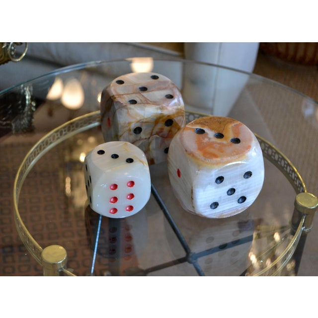 Hollywood Regency Oversized Mid-Century Modern Handcrafted Marble & Onyx Dice Sculptures - Set of 3 For Sale - Image 3 of 13