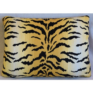 """Tiger Stripe Velvet & Leather Feather/Down Pillow 22"""" X 17"""" Preview"""