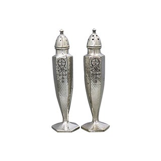 Art Deco Silver-Plate Salt & Pepper Shakers For Sale