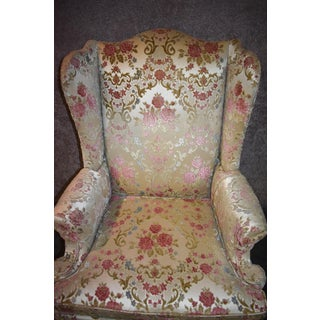 1970s Vintage Hickory Chair Co. Floral Wing Chair Preview