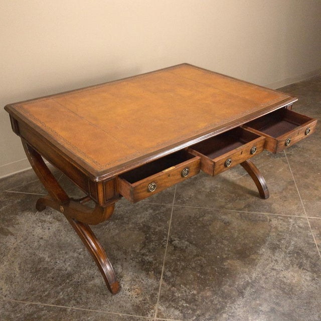British Colonial 19th Century English Mahogany Leather Top Desk For Sale - Image 3 of 13