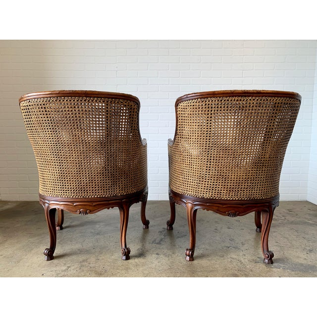 Curved Double Cane Lounge Chairs- a Pair For Sale - Image 4 of 13