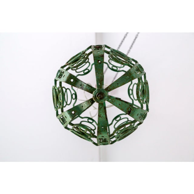 1920's Art Deco Green Oblong Cage Lantern With Circle Motif For Sale - Image 10 of 11