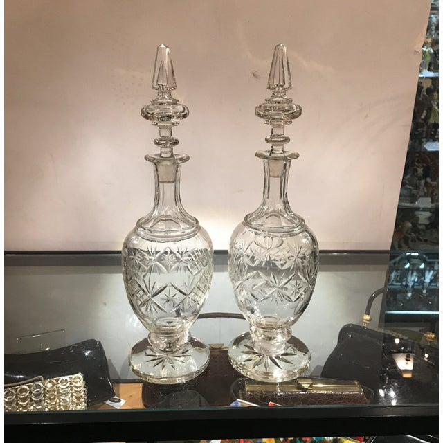 19th Century European Cut Glass Claret Decanters - a Pair For Sale - Image 4 of 10