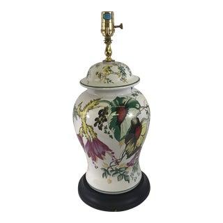 Floral Painted Porcelain Ginger Jar Lamp For Sale