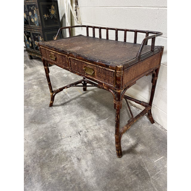 Very vintage bamboo writing desk with that perfectly chippy and worn appearance. Completely functional and stable. Drawers...
