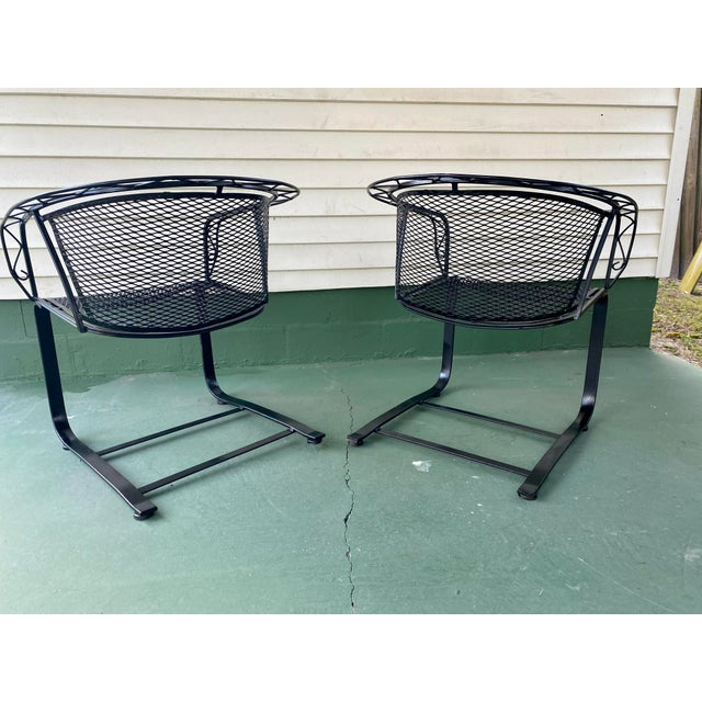 Mid-Century Modern 1960s Mid Century Modern Wrought Iron Rocker Chairs - a Pair For Sale - Image 3 of 7