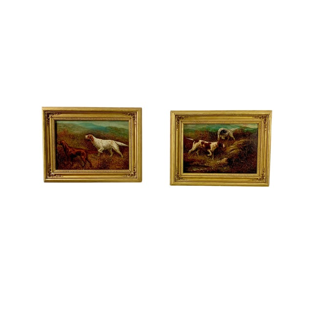 """Paint """"Setters on the Yorkshire Moors"""" Pair of Oil Paintings by Herbert St. John Jones - A Pair For Sale - Image 7 of 7"""
