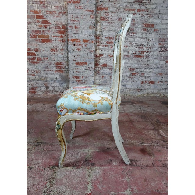 18th Century Venetian Painted and Upholstered Side Chair For Sale - Image 4 of 11