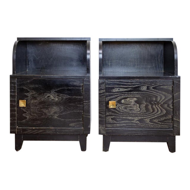 Mid Century Nightstands | Black and Brass | Huntley Furniture For Sale