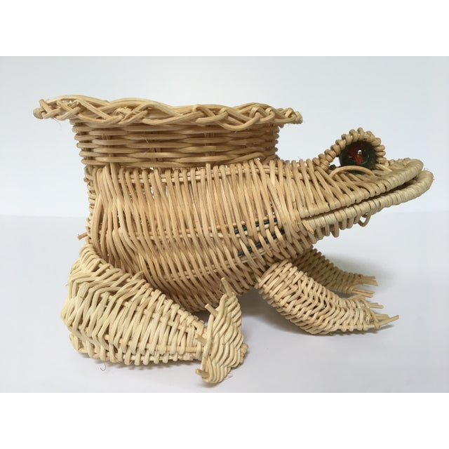 20th Century Cottage Marble Eyed Wicker Frog Planter/Catchall For Sale - Image 9 of 10