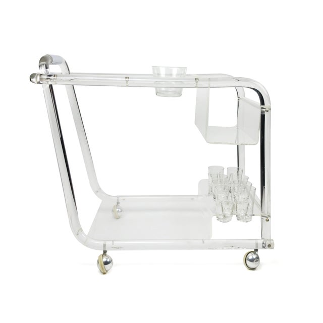 Transparent Lucite & Chrome Bar Cart For Sale - Image 8 of 8