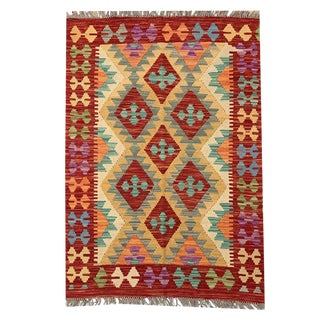 Southwestern Multicolored Bright and Woven and Reversible Kilim Entry Rug - 2'8 X 3'11 For Sale