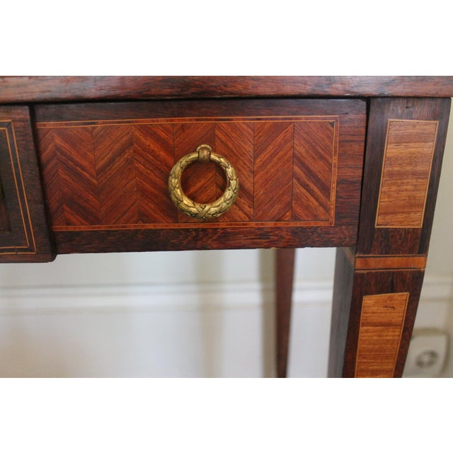 French French Transitional Parquetry Inlaid Writing Desk For Sale - Image 3 of 13