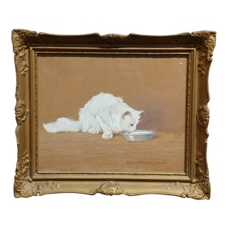 "Gabrielle Rainer Istvanffy ""White Cat Drinking Milk"" Painting For Sale"