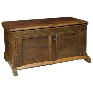 1704 Swedish Carved Oak Flat Top Coffer For Sale