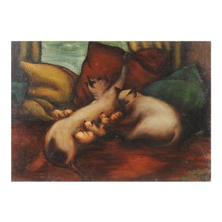 Dorothy Stauffer Hay Siamese Cats Painting For Sale