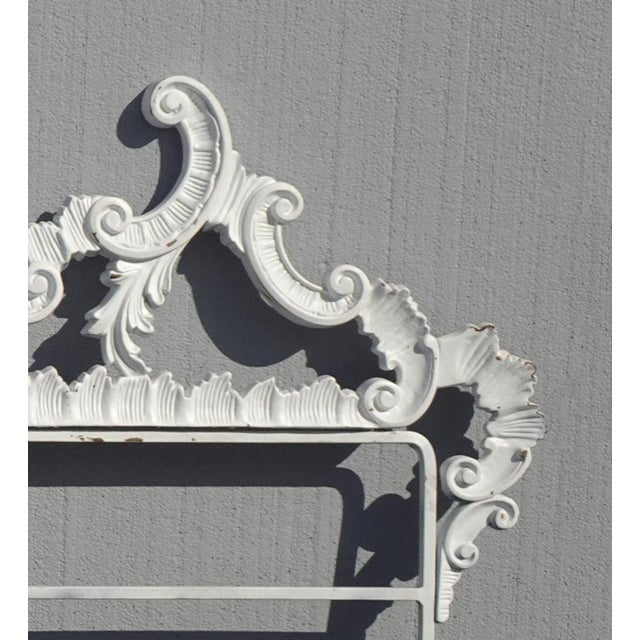 White Vintage French Provincial Louis XVI Rococo White Metal King Headboard For Sale - Image 8 of 12