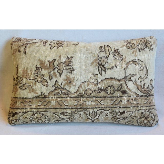 "Antique Soumak Carpet Wool Feather/Down Pillows 26"" X 16"" - Pair For Sale - Image 4 of 13"