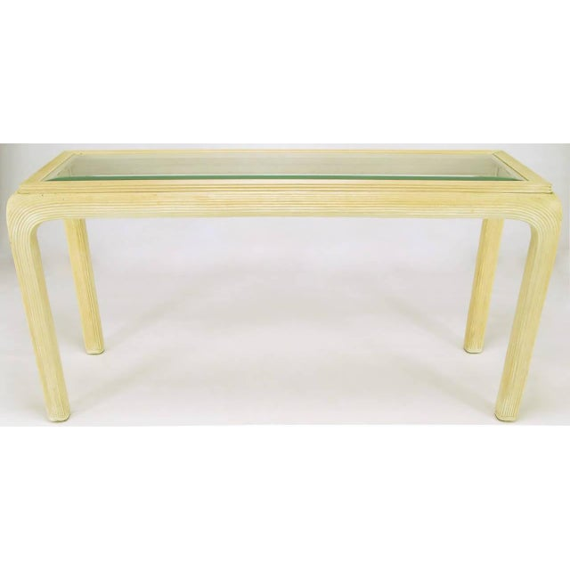 Art Deco Ivory Glazed Reeded Rattan Console Table For Sale - Image 3 of 5