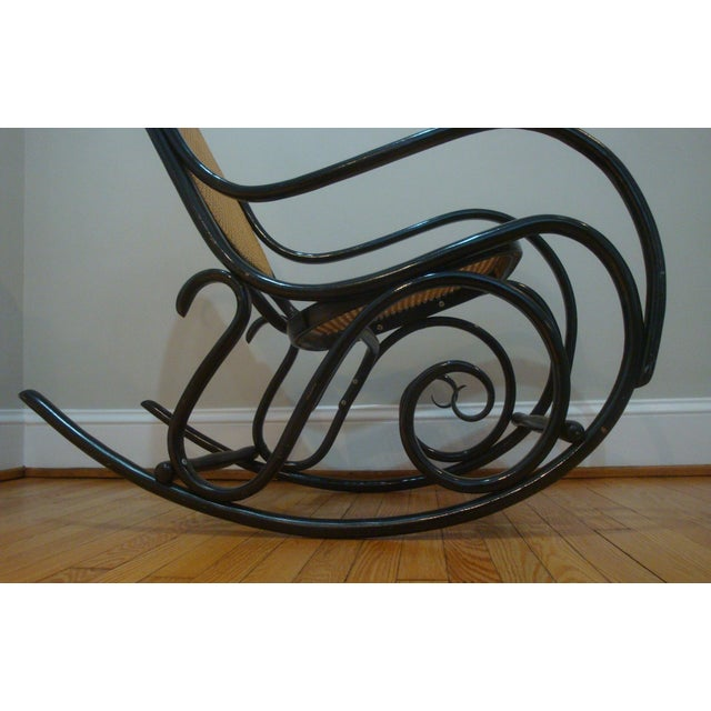 Bauhaus Authentic Black Thonet Bentwood Cane Rocking Chair Rocker Model No. 10 For Sale - Image 3 of 8