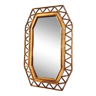 Vintage Mid Century Hollywood Regency Style Gold Faux Bamboo Mirror For Sale
