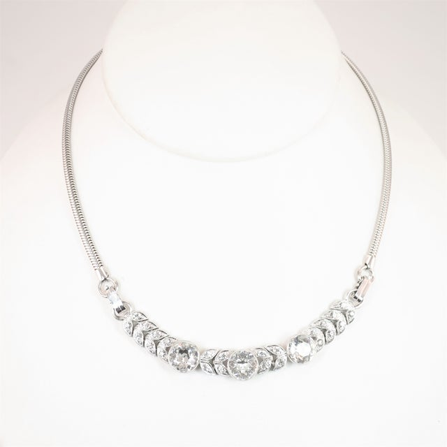 Art Deco Engel Brothers Rhodium Sterling & Crystal Necklace 1930s For Sale - Image 13 of 13
