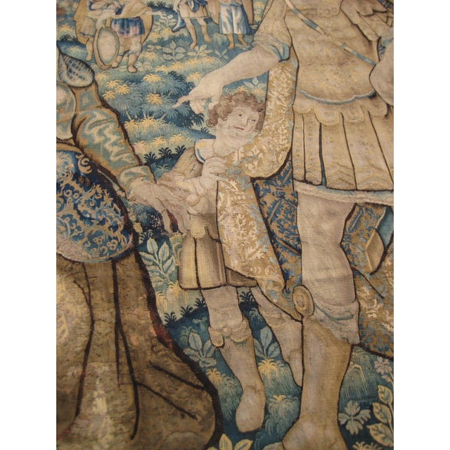 Antique Flemish Tapestry of Soldier Back From a Battle For Sale - Image 9 of 12