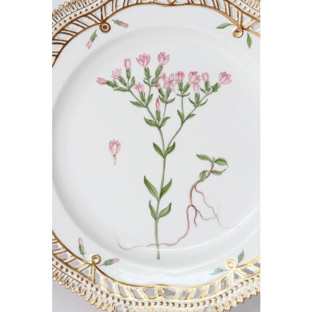 "Royal Copenhagen Flora Danica pierced plates # 20/3554 8.75"" diameter Latin names: Erythraea Centaurium Pers Pyrola..."