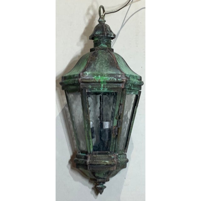 1970s Solid Brass Verdigris Hanging Lantern For Sale - Image 10 of 13