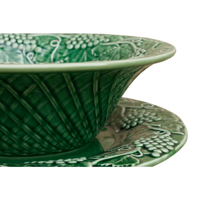 Bordallo Pinheiro Ceramic Serving Bowl & Plate For Sale - Image 4 of 6
