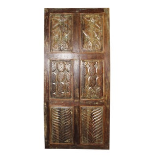 19th Century Vintage Rustic Carved Door For Sale