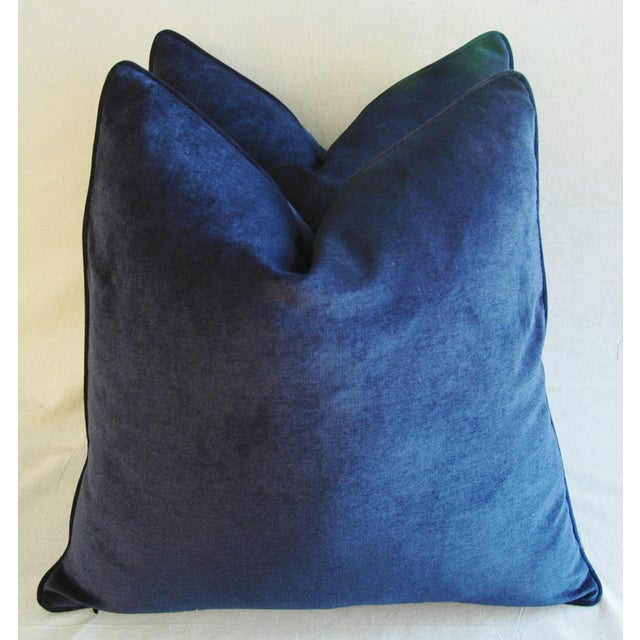 Fabric Large Designer Midnight Blue Velvet Feather/Down Pillows - Pair For Sale - Image 7 of 10