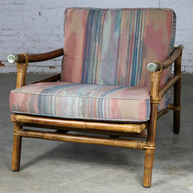 Brown John Wisner for Ficks Reed Rattan Lounge Chair For Sale - Image 8 of 13