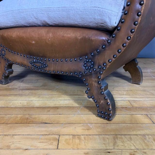 Boet 1930s Otto Schulz Leather & Grainsack Footstool, Boet, Sweden For Sale - Image 4 of 11