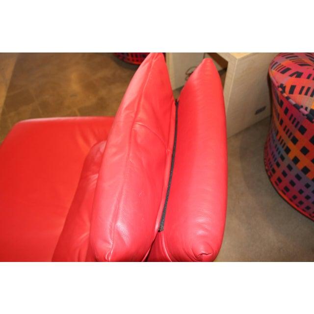 A really incredible red leather chair in great soft Italian leather. It is so well made the feet adjust to level the...