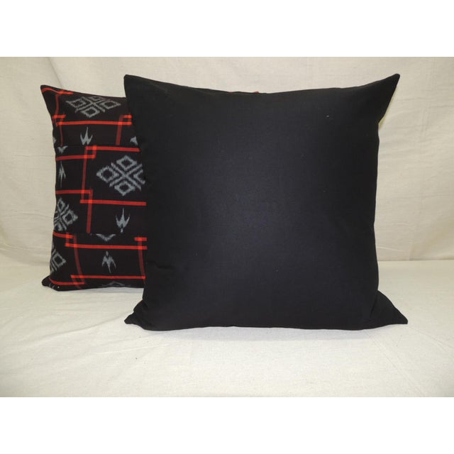 1980s Vintage Asian Red & Black Ikat Woven Textile Square Decorative Pillows- a Pair For Sale - Image 5 of 9