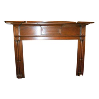 19th Century American Antique Pine Wooden Mantel For Sale