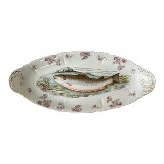 Antique O&EG Royal Austria Pink Salmon Porcelain Fish Platter For Sale