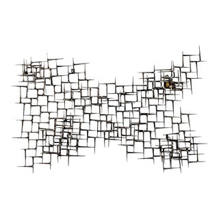 C Jere Style Abstract Nail and Brass Wall Sculpture