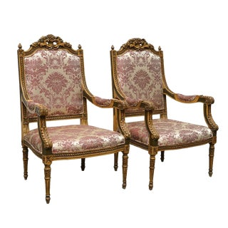 Early 20th Century Louis XVI Style Carved Mahogany Armchairs- A Pair For Sale