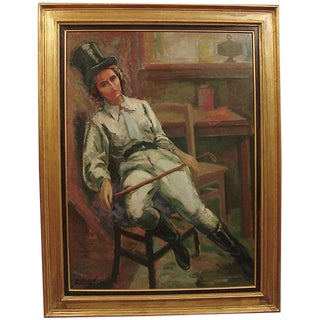 1930s Vintage August Clergé Equestrienne in Dream State French Art Deco Oil on Canvas Painting For Sale