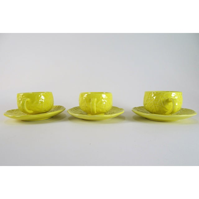 This is a set of 3, vintage Portugal Selca made yellow cabbage cups and saucers for serving tea or coffee.